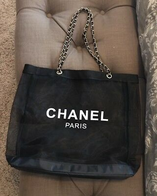 New Chanel Beauty VIP Gift Mesh Shopping Tote Beach Bag Large (Gold HW)