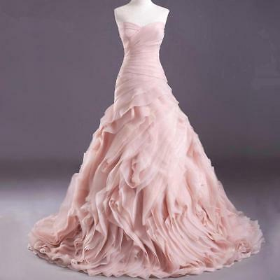 Ruffles Organza Blush Pink Wedding Dresses Mermaid Bridal Gown Custom Size 4-26+