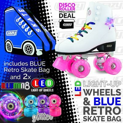 Crazy DISCO Roller Skates with 2 Bright LED Glitter Wheels and BLUE Retro Bag!!