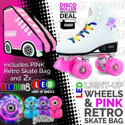 Crazy DISCO Roller Skates with 2 Bright LED Glitter Wheels and PINK Retro Bag!!