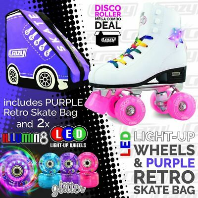 Crazy DISCO Roller Skates with 2 Bright LED Glitter Wheels and PURPLE Retro Bag!