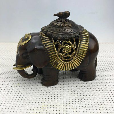 China old Copper gilding Hand carved Lucky Elephant hollow out Incense Burner X