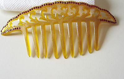 ANTIQUE CELLULOID VICTORIAN ART NOUVEAU RED RHINESTONE HAIR COMB Wide