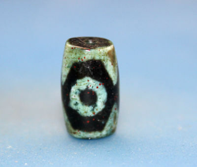 19*11 mm Antique  Dzi  Agate old  3  eyes cinnabar Bead from Tibet Free shipping
