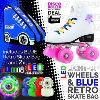 DISCO Roller Skates with 2 Bright LED Light up Wheels and RETRO BLUE Skate Bag!