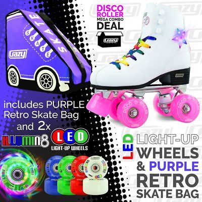 DISCO Roller Skates with 2 Bright LED Light up Wheels and RETRO PURPLE Skate Bag