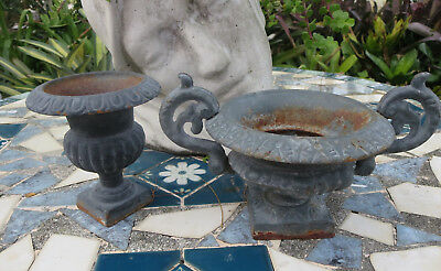 2 Antique Mini Cast Iron  Urn Planter