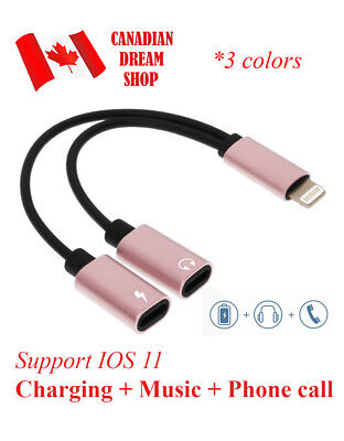 2 in 1 iPhone 7 Plus Dual Lightning Adapter splitter Charging Audio Cable IOS 11