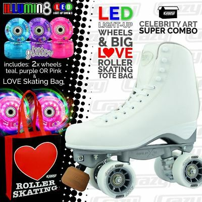 Celebrity Art Roller Skates with 2 Bright LED Glitter Wheels and LOVE Roller Bag