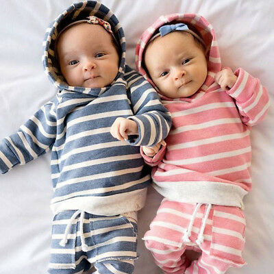 Infant Newborn Baby Striped 2PCS Outfits Hooded T-shirt Hoodie Long Pants Set