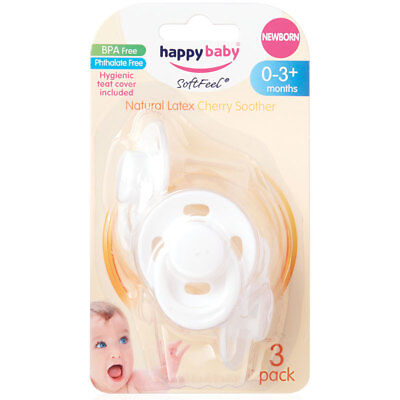 Happy Baby New Natural Latex Cherry Soother Newborn Dummy discontinued 3 pack