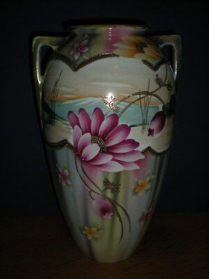 Vtg Vase double handle Hand Painted Lotus Lilly Pad Flower Turn of century Large