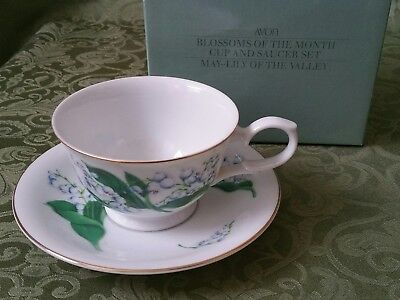 AVON MAY LILY OF THE VALLEY BLOSSOMS OF THE MONTH CUP AND SAUCER 1991 w/ BOX