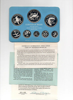 1975 BELIZE STERLING SILVER PROOF SET 3.05 OZ ASW  (8 COINS) case box coa nice
