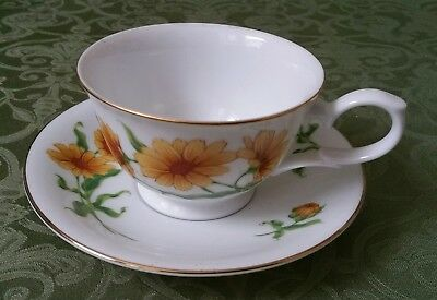 Avon October Calendula Blossoms Of The Month Cup And Saucer 1991