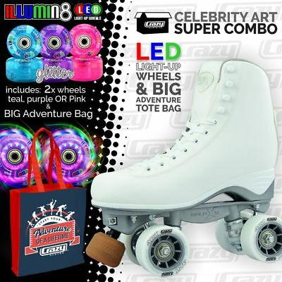 Celebrity Art Roller Skates with 2 Bright LED Glitter Wheels and ADVENTURE Bag!!