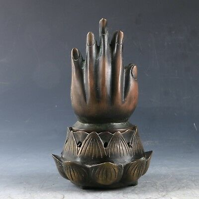 Chinese Copper Hand Carved Lotus&Buddha hand Incense Burner W Qing Dynasty Mark