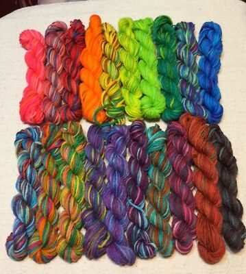 Sock Yarn Hanks,My Hand Dyed, Mini Skeins, Lot of 20, Mitered Square,  Brioche