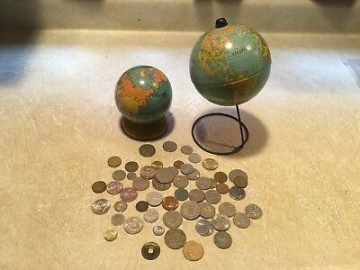 2 Vintage J. Chein  Globe Bank 1950's 1/2 # coin china 1644 germany 1875 Malta