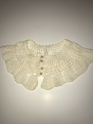 Vintage Hand Crochet Ecru Collar Pearl Buttons -Re-enactment  So Pretty