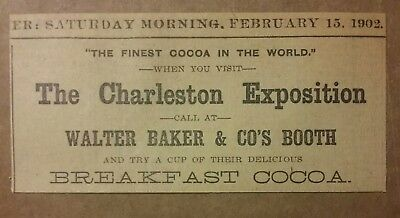 1902 When Visit Charleston Expo Call Walter Baker & Co  Booth Ad Breakfast Cocoa