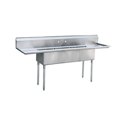 "(3) Three Compartment Commercial Stainless Steel Sink 90""L x 24""W"