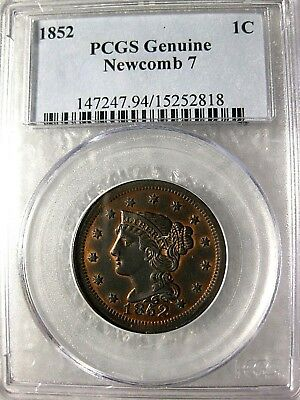 1852  Large Cent PCGS Genuine Newcomb 7 High End Circulated