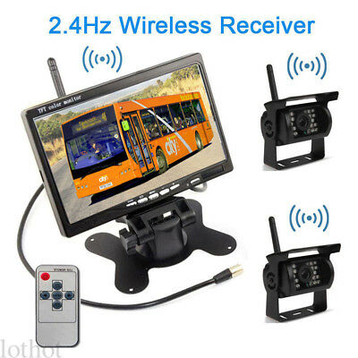 "US 7"" Monitor+2 X Wireless Rear View Backup Camera Night Vision For RV Truck Bus"