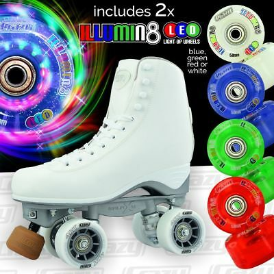Crazy Celebrity Art Quad Roller Skates with 2 SUPER Bright LED Wheels - COMBO!!