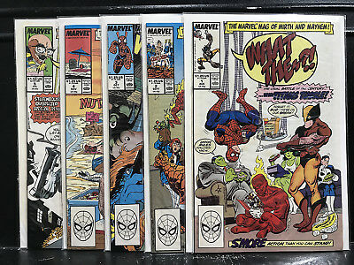 Lot of 5 What The ?! #1 2 3 4 5 (1988 Marvel) Mag of Mirth and Mayhem - ShipDeal