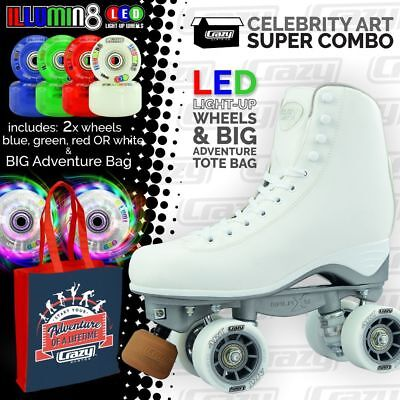 Crazy Celebrity Art Roller Skates with 2 Bright LED Wheels ADVENTURE Skate Bag!