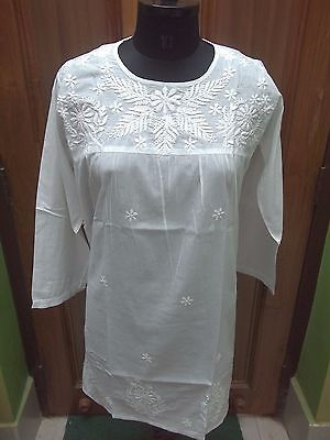 Tunic Blouse M 40 Ethnic Top 100% Cotton Handmade Chikan Embroidery Kurta Kurti