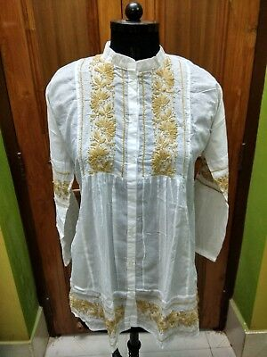 "L 42"" Blouse Kurti Handmade Kurta 100% Cotton Ethnic Chikan Embroidery Top Tunic"