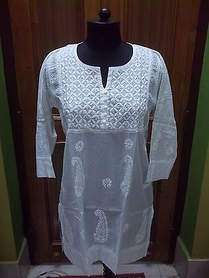 "Ethnic Blouse 100% Cotton Top M 40"" Chikan Embroidery Handmade Kurta Kurti Tunic"