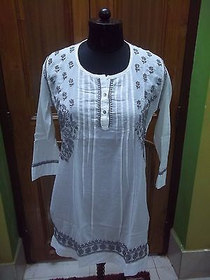 Ethnic 100% Cotton Top Handmade Chikan Embroidery Tunic Kurta Kurti M 40 Blouse