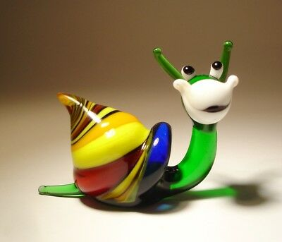 """Blown Glass """"Murano"""" Art Figurine Insect Green and Yellow Striped HAPPY SNAIL"""