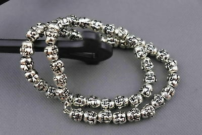 China Old Miao Silver Carve 2 Faces Buddha Head Auspicious Bring Luck Necklace