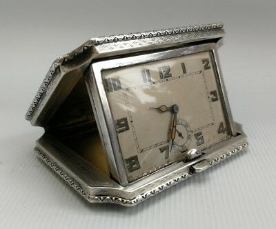 Vtg Art Deco 1930 Eszeha Solid Silver Case Folding Travel Clock Tavannes Chopard