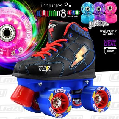 Kids Crazy Roller Skates FLASH Blue/Black & 2 Light Up LED Glitter Wheels COMBO!