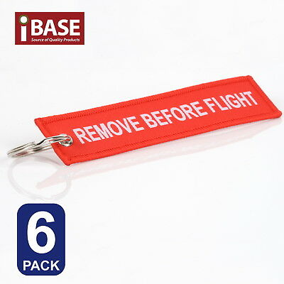6x Red REMOVE BEFORE FLIGHT Key Ring Luggage Tag Chain Organiser Aviation Pocket