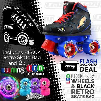 Kids Roller Skates FLASH Blue/Black with Black Retro Bag & 2 LED Glitter Wheels!
