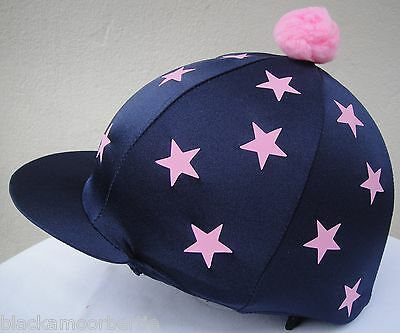 Riding Hat Silk Skull cap Cover NAVY BLUE BABY PINK MINI STARS With ORw/o Pompom
