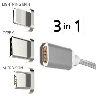 New Magnetic Micro USB Type-C Charger Charging Cable For iPhone Android Samsung