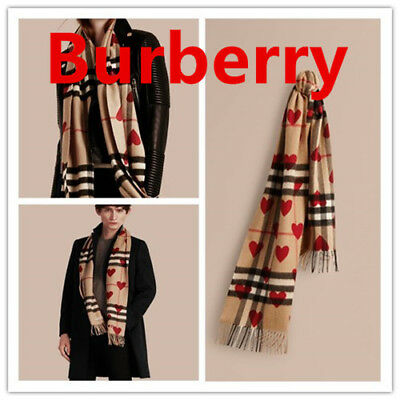 Burberry Classic Cashmere Scarf in Check and Hearts - Parade Red NEW NWT