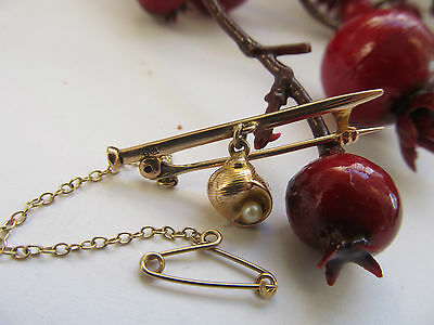 ANTIQUE GOLD ( 9 ct ) BROOCH c 1900 +  PEARL in a Shell + Safety Chain