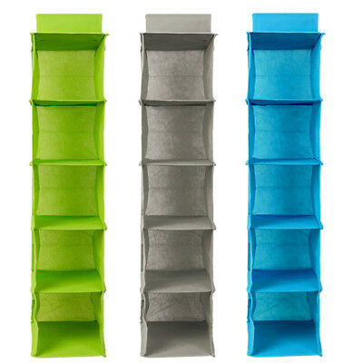 New 5 Section Shelves Hanging Wardrobe Shoes Garment Organiser Storage Clothes