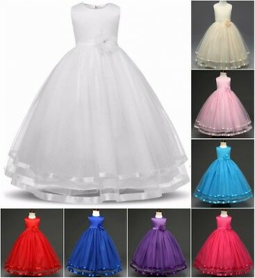 UK Girls Kids Flower Bridesmaid Party Princess Prom Wedding Christening Dresses