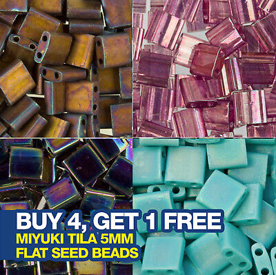Miyuki Tila Seed Beads 5mm approx. 86 beads. Choose from over 10 colours