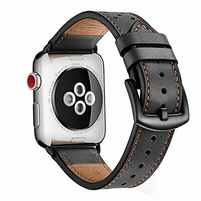 42mm Apple Watch Band iWatch Leather Replacement Band Strap for series 1 2 Black