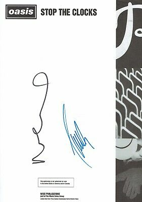 Oasis Noel & Liam Gallagher Hand Signed Autographed Guitar Tab Book Framing Page